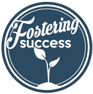 fostering success logo with a plant